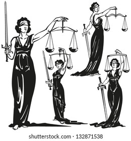 Lady justice Four brush-drawing based illustrations of allegorical justice