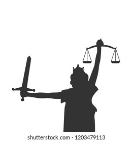 Lady justice graphic design element vector