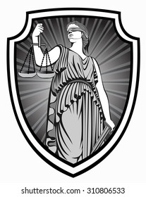 lady justice . Greek goddess Themis . Equality .  fair trial . Law .defense shield