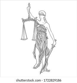 lady of justice hand drawing vector