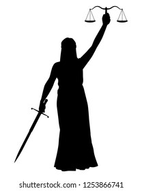 Lady Justice silhouette vector. Themis is Greek goddess of justice and law.