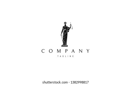 Lady Justice Statue Black vector logo 3 design