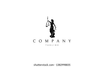 Lady Justice Statue Black vector logo design