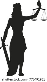 Lady justice vector silhouette