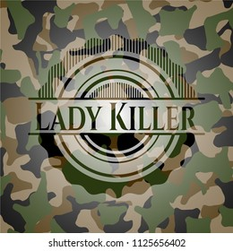 Lady Killer written on a camouflage texture