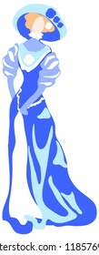 Сharming lady in a long dress and hat from 1900s vector graphics