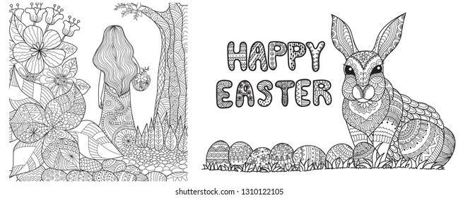 Lady with long hair walking in a garden with a basket and Happy Easter eggs and bunny for cards,background,coloring book page and print on product. Vector illustration.