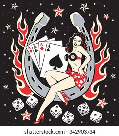 Lady Luck pinup lady sitting in a horseshoe with lucky rockabilly flames and dice and a black night sky background with stars.