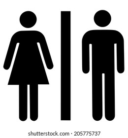 a lady and a man toilet sign on white background