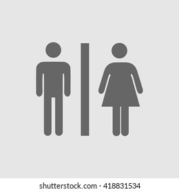 Lady Man Toilet Sign Vector Icon WC Simple Isolated Symbol Restroom Bathroom
