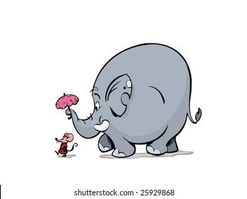Lady Mouse and elephant walking