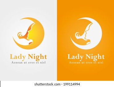 Lady night. A shape of lady on the moon.