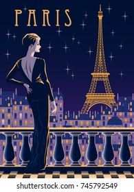 The lady on the balcony in the night of Paris. Handmade drawing vector illustration. Vintage style.