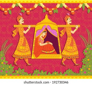 Lady in palanquin in Indian art style
