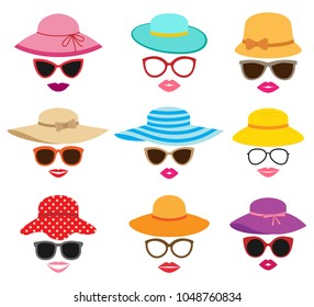 Lady photo booth vector set with summer hats, glasses and lips