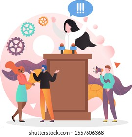 Lady politician, political candidate giving speech while standing behind rostrum, concept vector illustration. Election speech, meeting with voters, concept for web banner, website page etc.