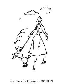 Lady With Poodle - Retro Clip Art