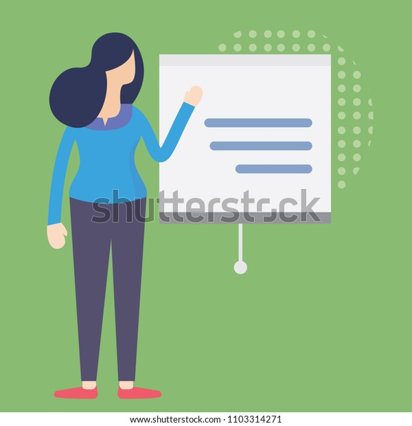 Lady presenting business plan.   Businesswoman standing in front of presentation screen with slide.