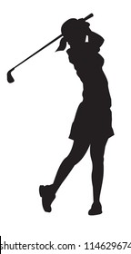 Lady professional golfer playing golf