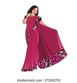 lady in purple color Saree-vector drawing