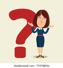 The lady and question mark. Confused woman. Business, vector flat illustration. Cartoon, concept.