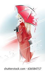 Lady in red. Blonde girl under an red umbrella in the rain. Vector illustration.