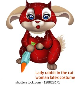 Lady in red, rabbit in the Catwoman costume / Set of bunny illustrations