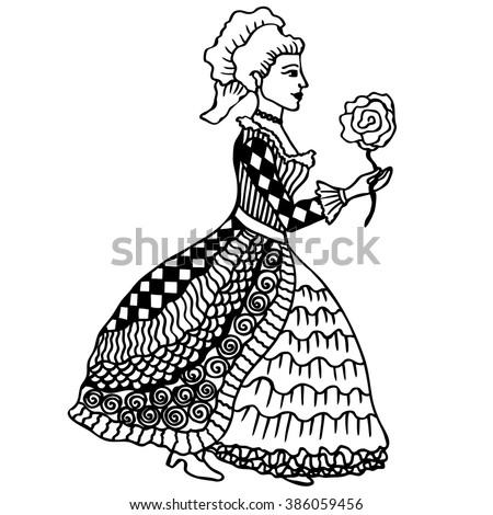 Lady Rose Zentangle Art Black White Stock Vector Royalty Free