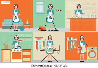 Lady set of housewife cleaning, ironing, cooking and washing with equipment working at home, woman housewife set character vector illustration.