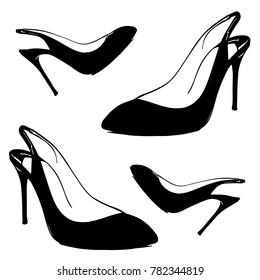 Lady shoes sketched women shoes vector illustration of high heel shoes