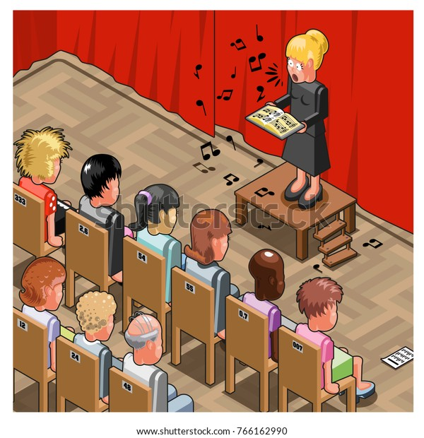 Lady singing a solo in front of a stunned audience (isometric illustration)