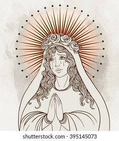 Lady of Sorrow. Devotion to the Immaculate Heart of Blessed Virgin Mary, Queen of Heaven. Vector illustration.