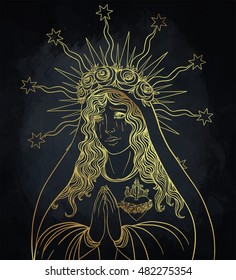 Lady of Sorrow. Devotion to the Immaculate Heart of Blessed Virgin Mary, Queen of Heaven. Vector illustration isolated. Gold over black.