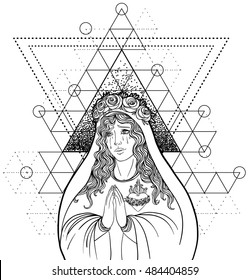Lady of Sorrow. Devotion to the Immaculate Heart of Blessed Virgin Mary, Queen of Heaven. Vector illustration isolated on white. Coloring book for adults. Sacred geometry. Tattoo design, mystic symbol