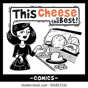 lady in the store choosing cheese comics