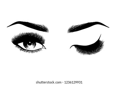 Lady stylish eye and brows with full lashes