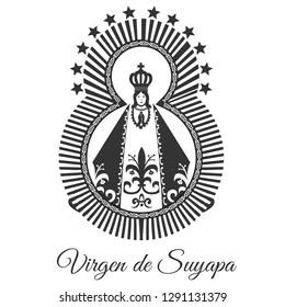 Lady of Suyapa, Virgin of Suyapa, Patroness of Honduras. Vector Black and white.
