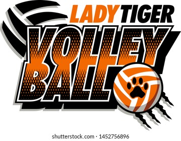 lady tiger volleyball team design with ball and paw print for school, college or league