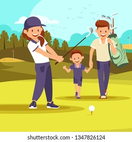 Lady Twirls Club About to Hit Tee Shot During Golf Tournament. Happy Man with Son Golfers Walk on Perfect Golf Course at Summer Day. Family Vacation, Leisure Passtime. Cartoon Flat Vector Illustration