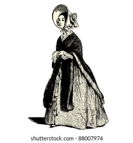 """The lady - Vintage engraved illustration - """"Les Francais"""" by L.Curmer in 1842 France"""