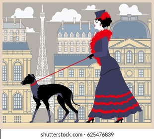 The lady at the walk with the dog in Paris. Handmade drawing vector illustration. Vintage style
