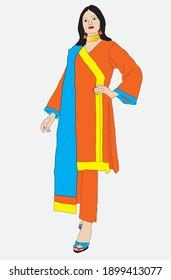 Lady wearing traditional Pakistani suit shalwar kameez and dupatta