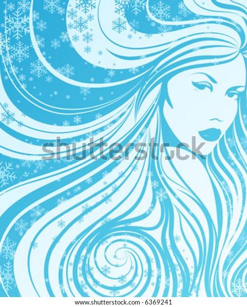 Lady winter.  Vector illustration.