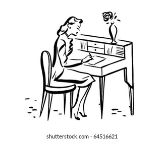 Lady Writing At Desk - Retro Clipart Illustration