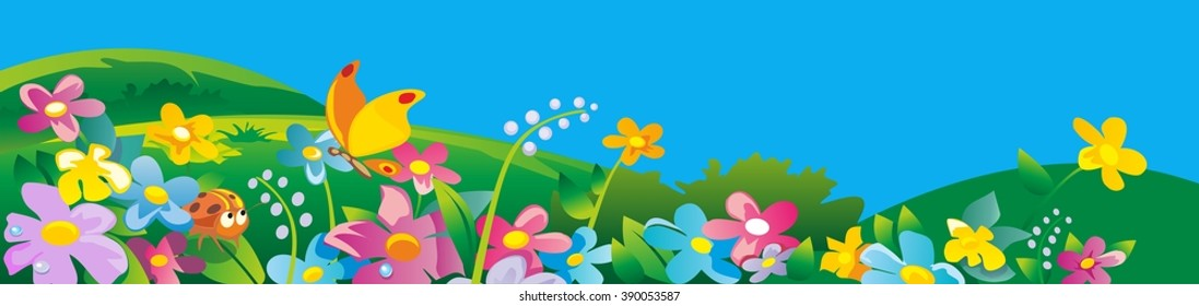 Ladybird and butterfly. Nature field with green grass, flowers at meadow and water drops dew on leaves. Summer landscape. Vector flat illustration.