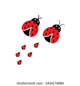 Ladybird family in square card. Illustration ladybug. Cute colorful sign red insect symbol spring, summer, garden. Template for t shirt, apparel, card, poster, etc. Design element Vector illustration.