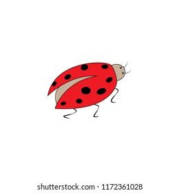 Ladybird sign. Illustration ladybug. Cute colorful sign red insect symbol spring, summer, garden. Template for t shirt, apparel, card, poster. Design element. Vector illustration