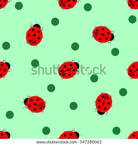 ladybug circle seamless pattern fashion graphic stock vector