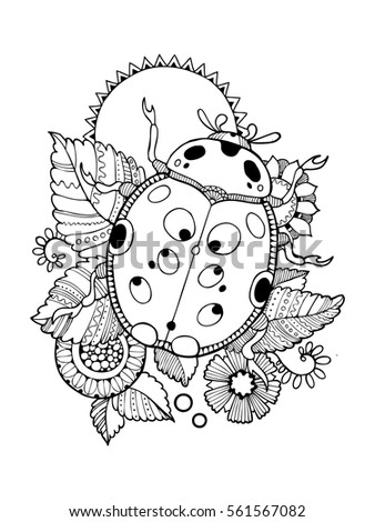 Ladybug Coloring Book Vector Illustration Antistress Stock Vector ...