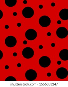 Ladybug dots seamless pattern, ladybird bug polka dot print for textile, fashion, scrapbook paper, wallpaper. Black circles on bright red as beetle spots decoration. Vector summer or spring design